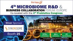 Syncrosome  300x171 - Syncrosome at the next Microbiome & Probotics Forum in Amsterdam